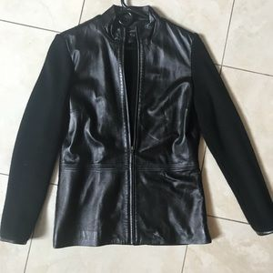 Bloomingdales zip up jacket with leather front Sm